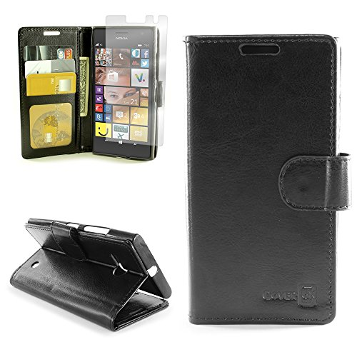 Click to buy Nokia Lumia 735 Premium Synthetic Leather Wallet Phone Case and Screen Protector | CoverON [Executive Pouch Series] | Durable Smooth Feel (Black) Flip Stand Cover with Credit Card and Cash Holder Slots for Nokia Lumia 735 - From only $39.95