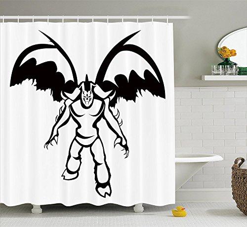 Video Game Shower Curtain Set Illidan Stormrage Illustration Demon Hunter The Betrayer Night Elf and Sorcerer Fabric Bathroom Decor with Hooks Black (Ebay Elf Costume)