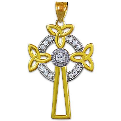 Petits Merveilles D'amour - Pendentif - 10 ct 471/1000 Deux tons d'or Celtiquees Croix Celtique Pendentif diamant
