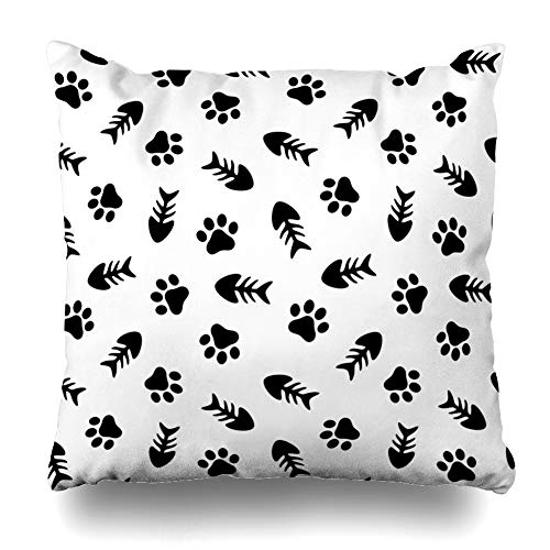 WAYATO Pillow Case Cotton Polyester Blend Throw Pillow Covers Fishbone and Animal Paw Background Cat and Fish Bed Home Decor Cushion Cover 18X18 Inch - Fishbone Cover