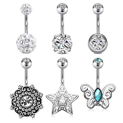 Briana Williams 6pcs Belly Button Rings Navel Bars Surgical Steel 14G 10mm Curved Barbell Banana Star Butterfly CZ Diamond Piercing Jewellery Women Girls