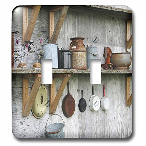 Antique Kitchenware (3dRose  lsp_61844_2 Photo of Antique Kitchenware in A Country Barn Double Toggle Switch)