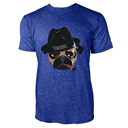SINUS ART® Lustige Bulldogge mit Melone und Zigarre Herren T-Shirts in Vintage Blau Cooles Fun Shirt mit tollen Aufdruck