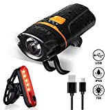 Bike Light Set,Rafada Super Bright 700 Lumen Bicycle Lights Free Tail Light,Easy to Install Bike Front and Back Rear Lights