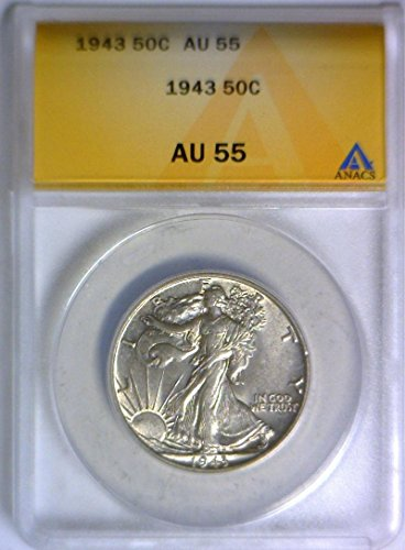 1943 No Mintmark Walking Liberty ANACS Certified Half Dollar (Walking Liberty Half Dollar Mintmark)