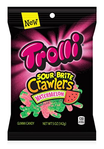 Trolli Sour Brite Crawlers Gummy Candy, Watermelon, 5 Ounce Bag