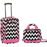 Rockland 2 PC PINK CHEVRON LUGGAGE SET