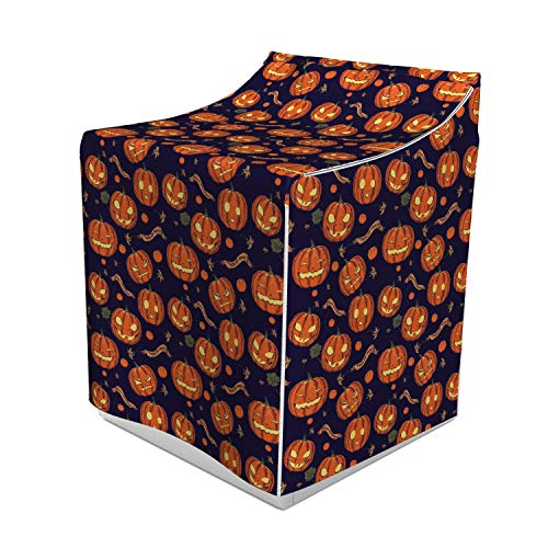 Lunarable Pumpkin Washer Cover, Halloween Themed Celebratory Banners Trick or Treat and Carved Pumpkins, Easy to Use Bathroom Accent Fabric, 29