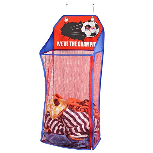 Store & Score Over The Door Hanging Kids Fun LED Soccer Light-Up Collapsible Mesh Laundry Hamper Basket, Toy Chest, Heavy Duty Metal Hooks Included. Patent Pending