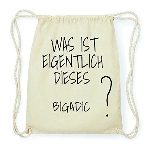 JOllify BIGADIC Hipster Turnbeutel Tasche Rucksack aus Baumwolle - Farbe: natur Design: Was ist eigentlich