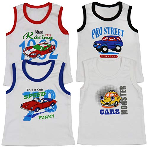 ToBeInStyle Boys' 4 Pack Double Needle Hem Tank Tops - Cars - Size 4