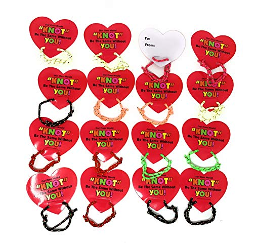 Bulk 48 Valentine Knot Bracelets with Heart Shaped Greeting Cards Valentine's Day Party Favor for Classrooms, Day Care Supplies by 4E's Novelty