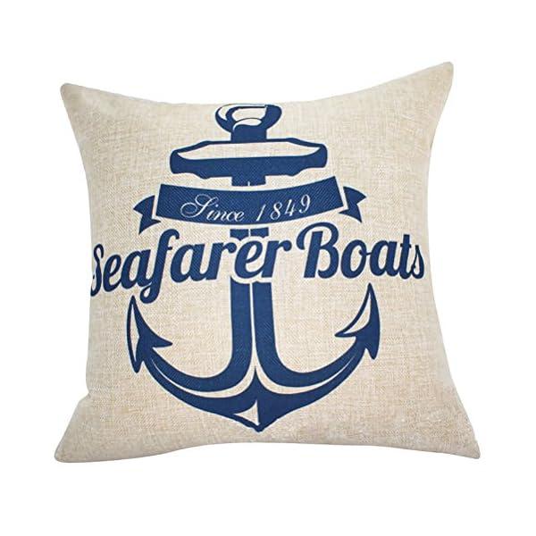 Quadrato blu mare stampato cuscino Chezmax Linen throw Pillow case Sham Slipover Pillowslip federa per la casa divano… 1 spesavip