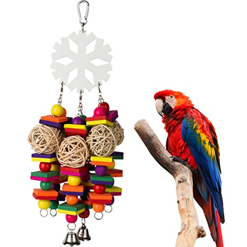 Snowflake Large Parrot Chew Toy for Bird Macaw African Greys Eclectus Cockatoo Parakeet Cockatiel Conure Lovebird Cage Wood Bird Chewing Toys with Bells by PAMAGOO