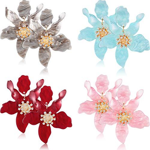 4 Pairs Flower Stud Earring Set Acrylic Flower Earrings Flower Pierced Earrings with Faux Flower Bud for Women Girls, 4 Colors
