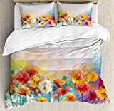 Ambesonne Watercolor Flower Home Decor Duvet Cover Set, Gerbera Bouquet Textured Artisan Inflorescence Morph New Paint, 3 Piece Bedding Set with Pillow Shams, Queen/Full, Red Orange