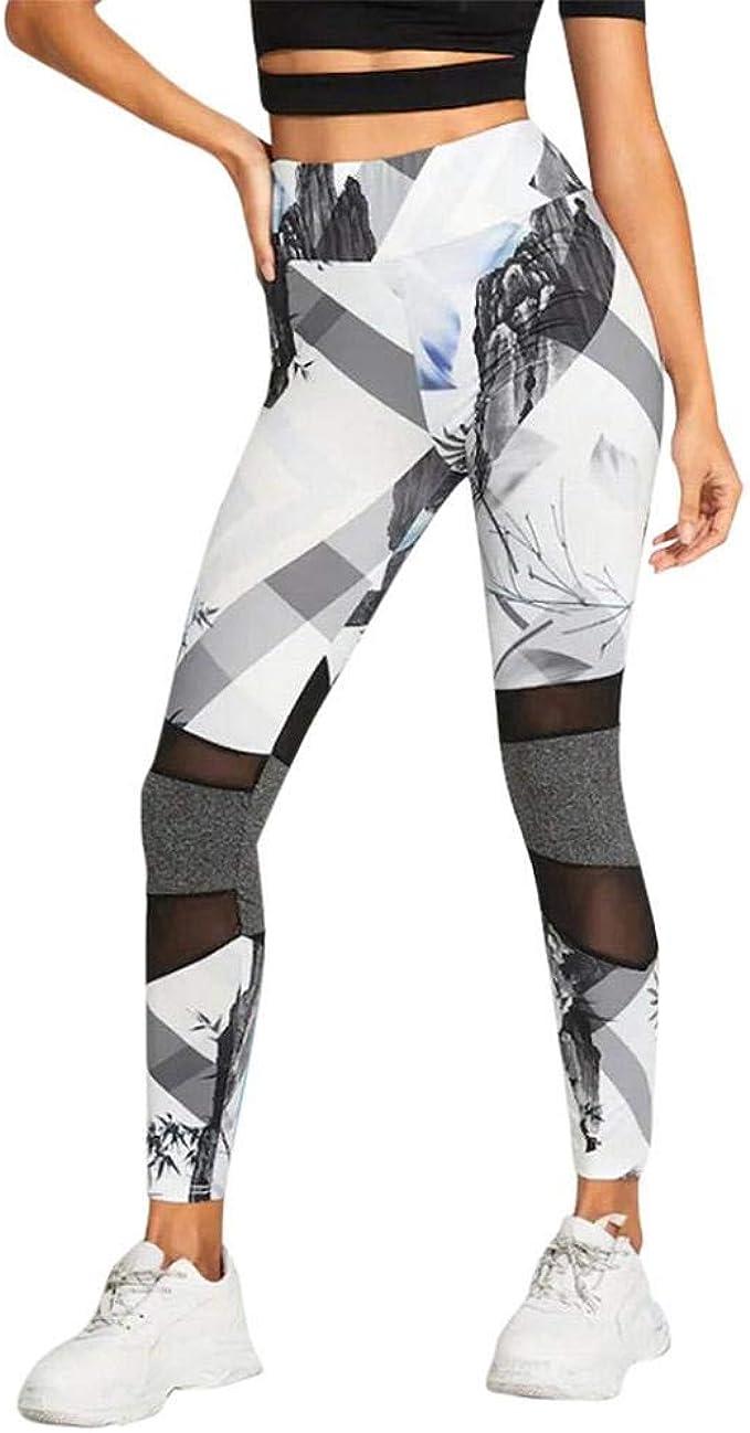 VJGOAL Pantalones de Yoga Estampado de Malla Empalme Empire Correr ...