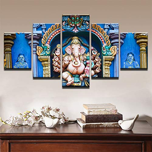 Ganesh Elephant Head - FJNS Wall Art India Canvases Print Ganesh Elephant Head God Painting for Living Room Home Decor Gallery Art Framework - 5 Panels Pieces Multiple Pictures,B,20×35×220×45×220×55×1