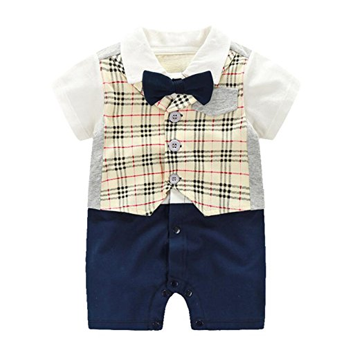 Fairy Baby Baby Boy Formal Outfit Short Sleeve Tuxedo Plaid Gentleman Suit,3-6M,Yellow Grid
