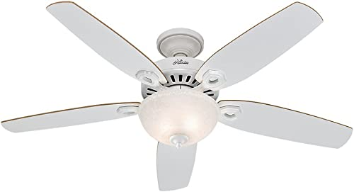 Hunter Builder Deluxe Indoor Ceiling Fan with LED Light and Pull Chain Control, 52 , White