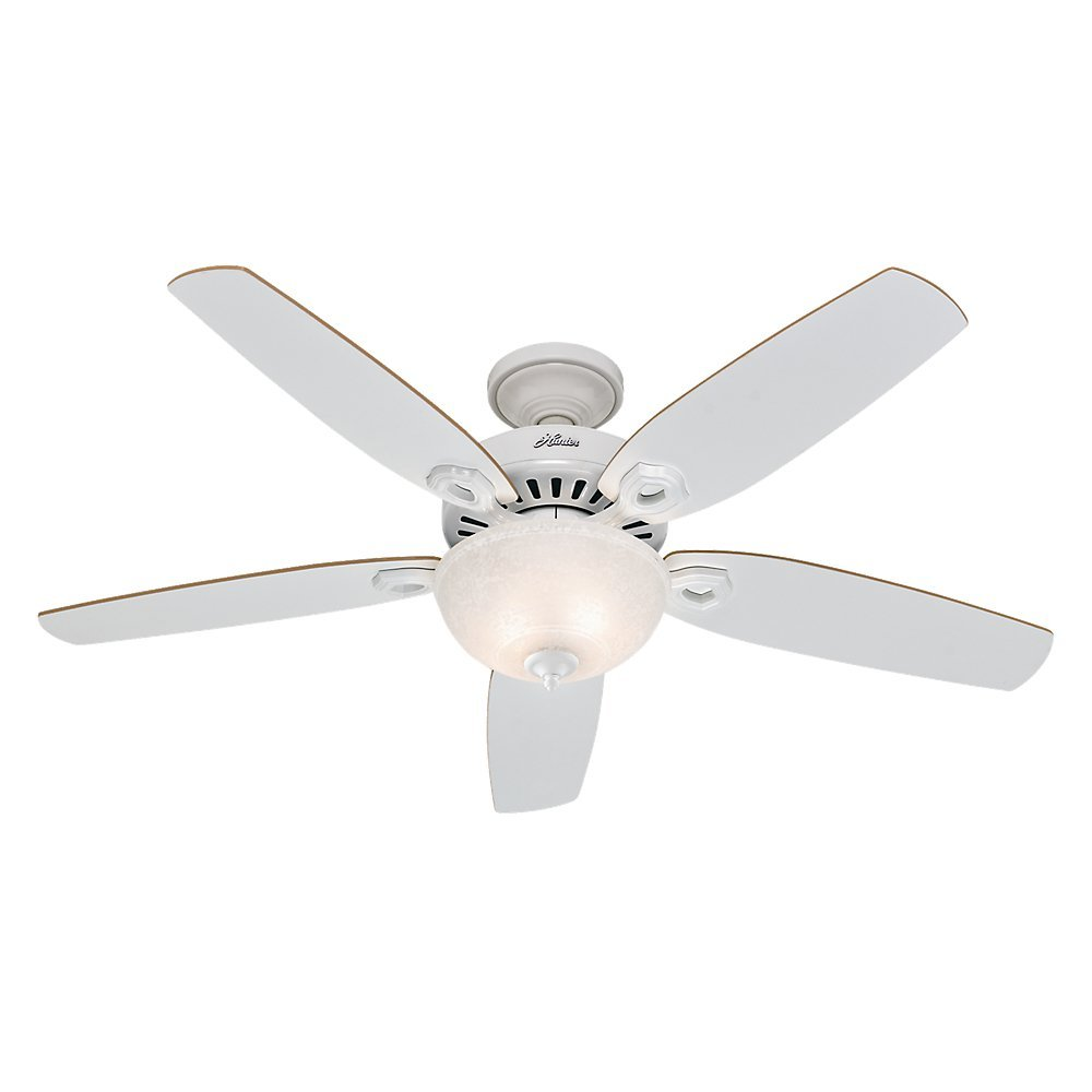 Hunter 53089 builder deluxe 52 inch ceiling fan with five white hunter 53089 builder deluxe 52 inch ceiling fan with five whitebeech blades and snowflake linen glass light kit white amazon aloadofball Choice Image