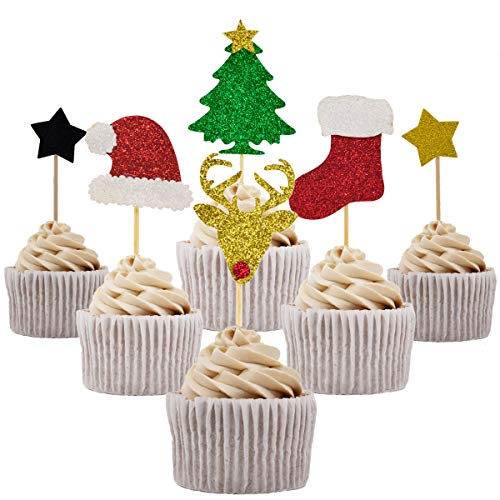 Betop House Set of 34 Pieces Christmas Themed Party Twinkle Twinkle Little Star Kids Birthday Baby Shower Cake and Cupcake Decorative Toppers Kit Party Supplies