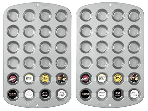 Wilton Recipe Right Nonstick 24-Cup Mini Muffin Pan, Pack of 2 Pans