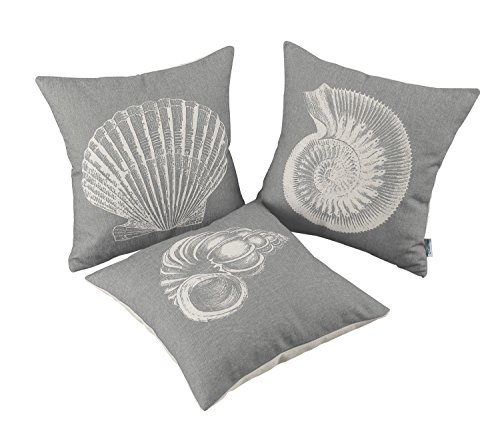Set of 3 CaliTime Canvas Throw Pillow Covers Cases for Couch Sofa Home Decor, Mediterranean Sea Shells Print, 18 X 18 Inches - Seashell Grey