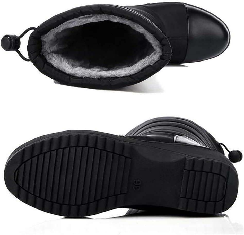 SHANGXIAN Femmes Bottes de Neige Bottes d'hiver Chaud Épais Peluche vers Le Bas Coton Dame Grande Taille Chaussures à Talons Black
