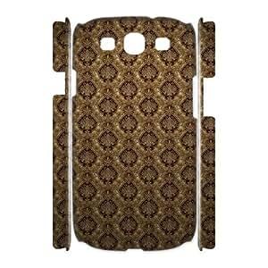 3D Samsung Galaxy S4 Cases, Anti-Slip Brown Victorian Print Cases for Samsung Galaxy S4 {White}
