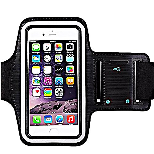 Water Resistant Sports iBarbe Armband Key Holder Night Reflective iPhone X 8 Plus 7 Plus, 6 Plus, 6S Plus,Galaxy s8,s8+,S6/S5, Note 4 etc.Running Exercise (Black) (Fluid Assembly 1)