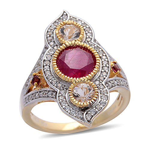 Fissure Filled Ruby, Multi Gemstone Yellow Gold Plated Silver Cluster Ring 2.4 cttw Size 7 (Gemstone Multi Ring Cluster)