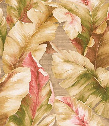 Wallpaper Designer Green Tan Cream Yellow Brown Coral Taupe Tropical Banana Palm Leaf
