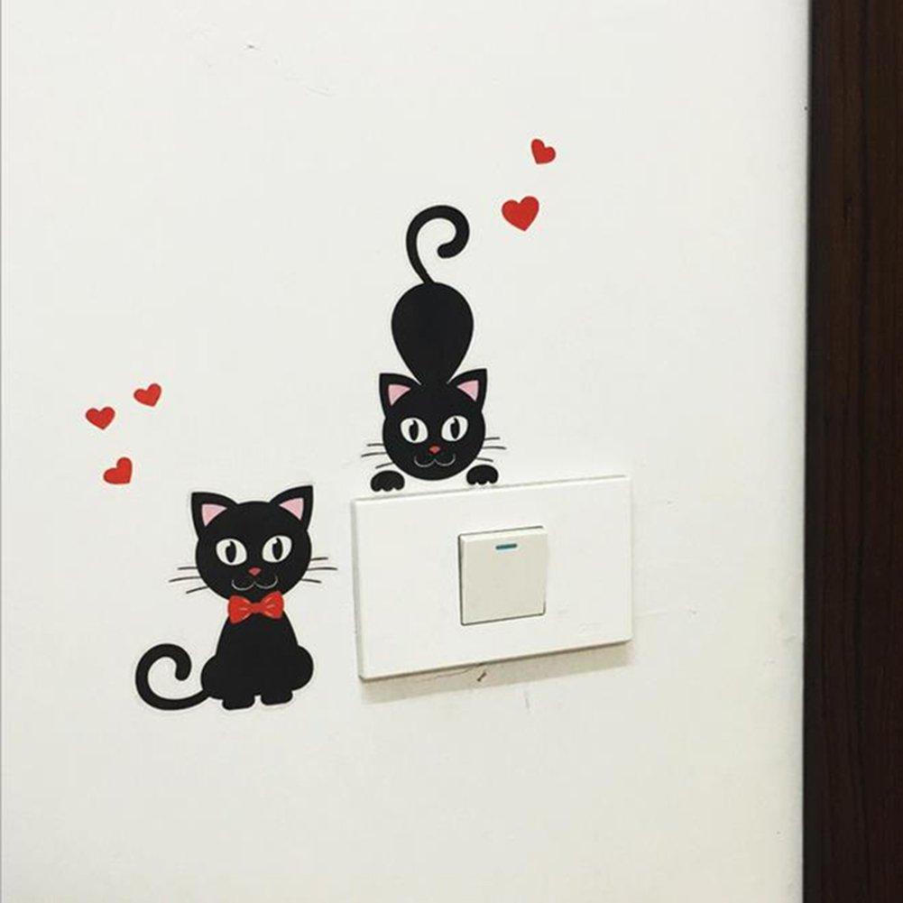 Itemer 5/pcs//1/Lot de Interrupteur Noir Chat mignon Stickers muraux PVC amovible D/écoration murale Black-3