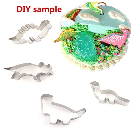 Sunling Stainless Steel Baking Molds Set Cookies Cutters Mould 4 Pcs Dinosaurs