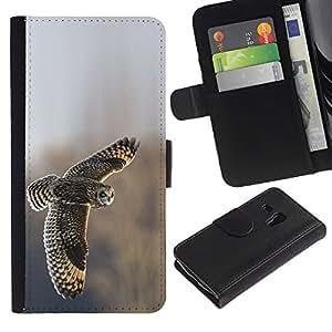A-type (Owl Feathers Field Flying Wings Winter) Colorida Impresión Funda Cuero Monedero Caja Bolsa Cubierta Caja Piel Card Slots Para Samsung Galaxy S3 MINI 8190 (NOT S3)