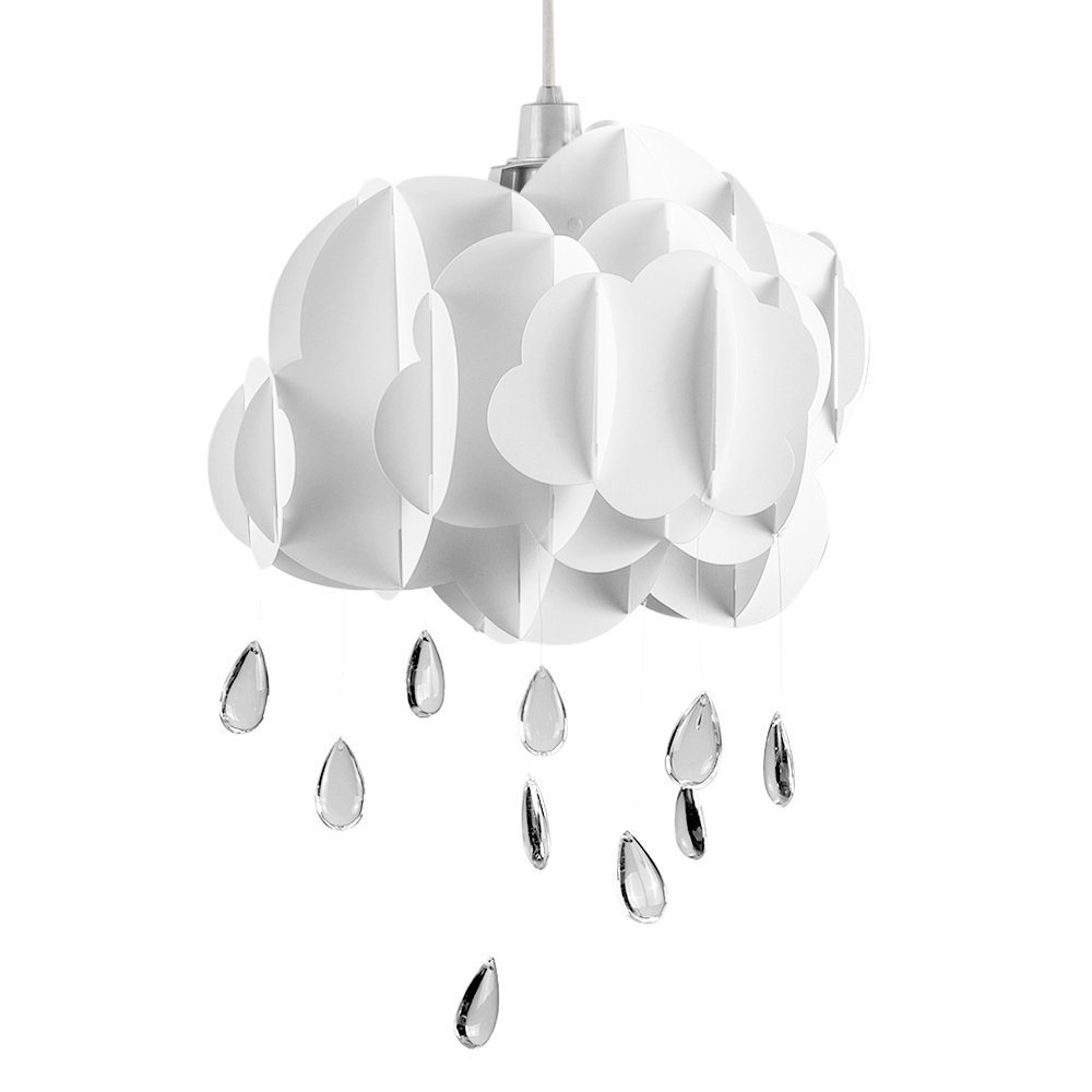 Cute childrens bedroom baby nursery white layered rain cloud cute childrens bedroom baby nursery white layered rain cloud with acrylic jewel raindrop water droplets ceiling cot mobile pendant light shade mozeypictures Gallery