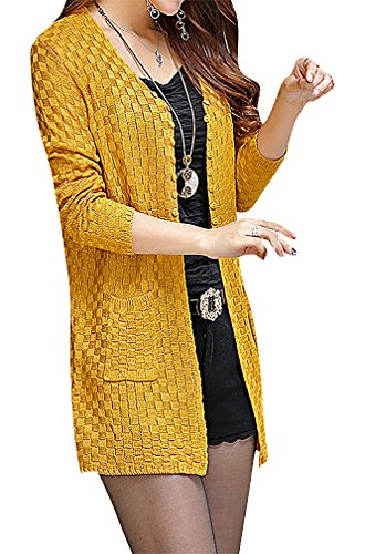 Maze, Women's Checkered Buttoned Pocketed Long Sleeve Midi Sweater Cardigan, Yellow M ,Manufacturer(L) (Gold Crochet Cardigan)