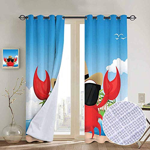 ins by Crabs,Cool Crustacean with Black Sunglasses and a Hat Summer Vacation on Tropical Island,Multicolor,Wide Blackout Curtains, Keep Warm Draperies,1 Pair 52