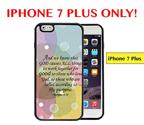 IPHONE 7 PLUS - Pastel Colors Circles and White Polka Dots Romans 8:28 Bible Verse APPLE IPHONE 7 PLUS Rubber TPU Silicone Phone Case - Roman Pastel