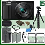 Panasonic Lumix DMC-ZS50 Digital Camera (Black) + 64GB Greens Camera Bundle 3