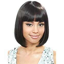 Black Short Bob Hair Wigs Straight Synthetic Women's Wig With Hair Bangs by Muswanna