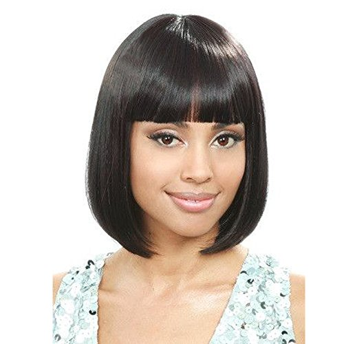 Black Short Bob Hair Wigs Straight Synthetic Women's Wig With Hair Bangs by -