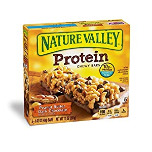 Nature Valley Chewy Granola Bar, Protein, Peanut Butter Dark Chocolate, 5 Bars - 1.42 oz (Pack of 6)