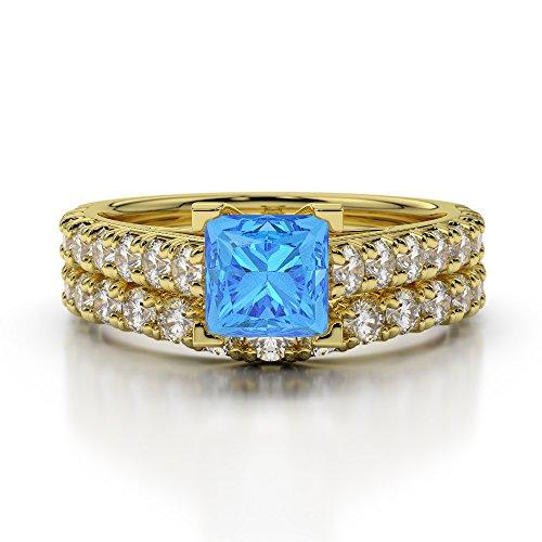 Or jaune 18carats 1CT G-H/VS sertie de diamants Coupe Princesse Topaze bleue et de mariage Bague de fiançailles et ensemble de Agdr-2007