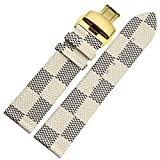 MSTRE 22mm Unisex Calfskin Leather Watch Band Replacement Strap For Burberry Watches (Beige-gold)