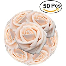 Lmeison Artificial Flower Rose 50pcs Real Looking Artificial Roses w/Stem for Bridal Wedding Bouquets Centerpieces Baby Shower DIY Party Home Décor,Champagne