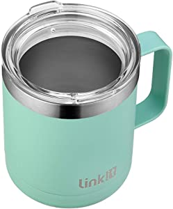 Linkit 12 oz Stainless Steel Coffee Mug with Standard Lid - Double Wall Vacuum Insulated Tumbler Cup with Handle - Seafoam