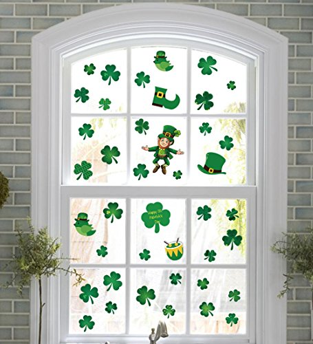 jollylife 110+ St Patrick's Day Shamrock Decorations - Window Clings Decal Stickers Party Ornaments