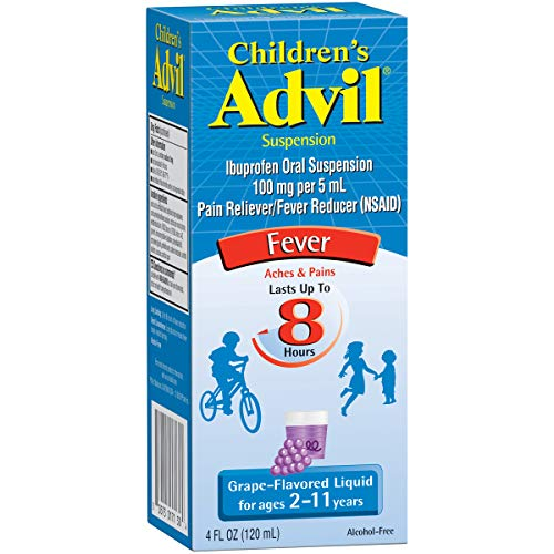 Advil Children's Fever Reducer/Pain Reliever, 100mg Ibuprofen (Grape Flavor Oral Suspension, 4 fl. oz. Bottle, Pack of 3) - Flavor Oral Suspension